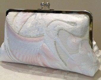 Handmade 10 inch Crystals Crane Bridal Clutch/Bag/Purse..Long Island Bride/Wedding Gift/Silk Kimono/Ivory/Blushing Pink/Ready To Ship/OOAK