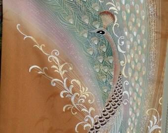 Large 10 inch Silk Kimono clutch/purse/bag..Peacock..Bridal/Wedding Gift..Florals..Seafoam Blue/Golden Brown/Rose..Glitter..Wrap to match