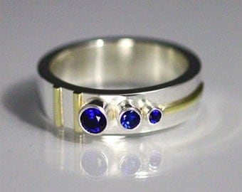 3 Stone Sequence Ring 14K (Sapphire) Made to Order