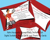 Retro Housewife Housewarming Shower or Party Invitation Set, Digital Download, C-456, Invitation, Recipe Card, Thank You Tags, Personalized