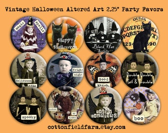 Vintage Halloween  Altered Art Set of 12 Pinback Buttons 2.25 INCH Creepy Scary