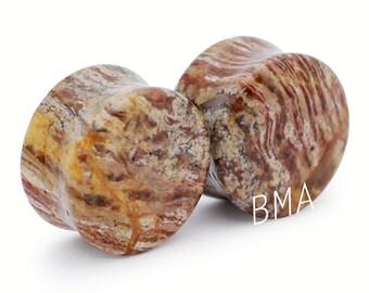 "11/16"" (18mm) Truffle Brown Jasper Stone Plugs #1171"