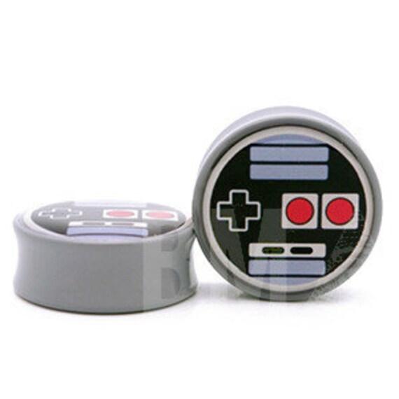 0g (8mm) Oldskool Video Game Controller BMA Plugs Single Flare Pair