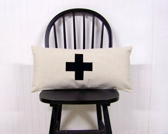swiss cross lumbar pillow - black - canvas - home decor - black swiss cross - rustic modern home- black cross pillow cover -cros