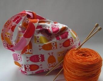 SALE knot bag - knitting crochet amigurumi project bag - sock knitting bag - Urban Zoologie owls orange pink - free knitting pattern too