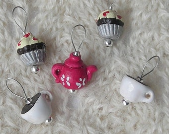 tea lovers knitting stitch markers - snag free - ceramic teapot teacup cupcake beads - set of 5 - two loop sizes available