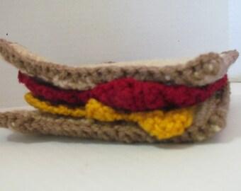 Amigurumi Crochet Play Food~Toy~Pretend Play~Amigurumi Crochet Peanut Butter and Strawberry Jelly Sandwich Play Food~Child's Kitchen~Gift