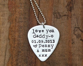 Guitar Pick Necklace - Personalized Guitar Pick - Sterling Silver - Music Lover Gift - Music Teacher Gift - Father's Day Gift