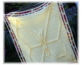 Butterfly baby blanket crochet afghan in light yellow & multi colored pink purple brown. Newborn photo prop car seat sized