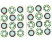 Envelope Seals Stickers - Retro Circles (24) One Inch