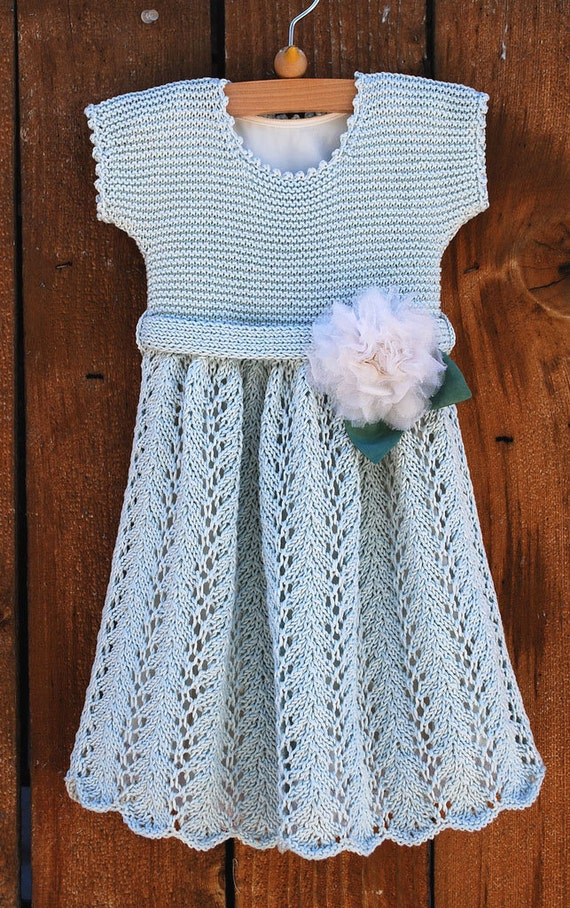 Knitting Patterns For Baby Dresses : Knitted Vintage Baby Dress Pattern for PDF digital by Pipersgirls