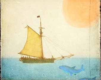 Ahoy, Me Hearties - Art Print.  Bright yellow sail boat with pirates and sharks in mind.  Perfect art for a child's room.