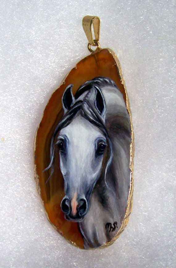 White Arabian Horse Handpainted Pendant gold edged Jewelry art