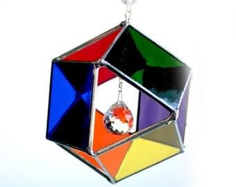 Rainbows and Swarovski Crystal Dancer- Stained Glass Sun Catcher.