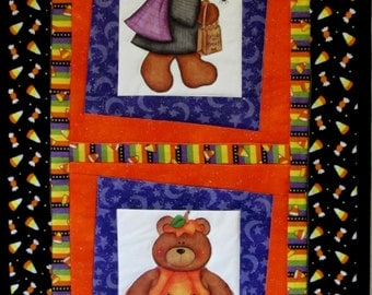 Halloween Bears Quilted Wall Hanging