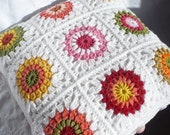 Cushion Cover Crocheted with a Range of colours and edged in White