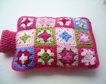 Hot Water Bottle Cover - Cosy in Shades of Pink Crocheted
