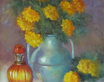 Still Life Painting of Marigolds and Turquoise Pitcher Original Oil Painting by Cheri Wollenberg