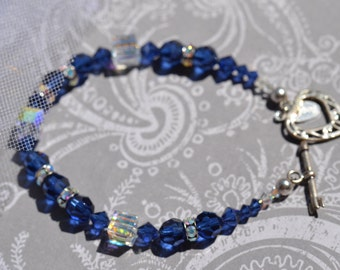 fatdog Bracelet - B1110 Sapphire Blue Swarovski Crystals Single Strand with Sterling Silver Heart Toggle Clasp