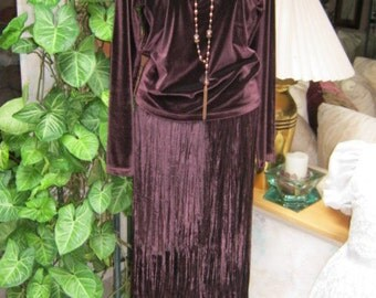 Plum velveteen top and panne velvet crystal pleated maxi skirt outfit size M