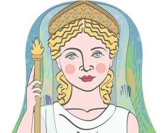 Roman Goddess Juno Wall Art Print with mythological figure drawing in a Russian matryoshka nesting doll shape