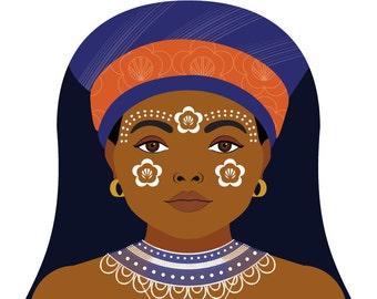 Xhosa South African Wall Art Print featuring cultural dress drawn in a Russian matryoshka nesting doll shape