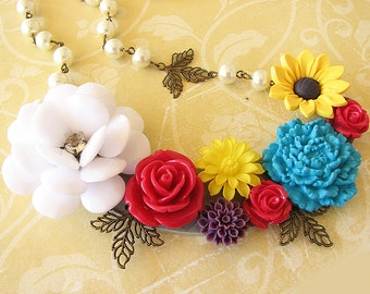 Statement Necklace Flower Necklace Bib Necklace Flower Jewelry Collage Jewelry Woman Gift