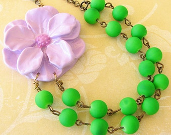 Flower Necklace Green Jewelry Green Necklace Statement Necklace Autumn Jewelry Double Strand Bridesmaid Gift For Her Beadwork