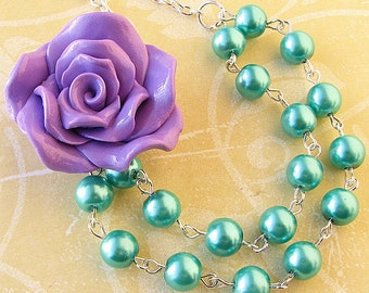 Bridesmaid Jewelry Teal Necklace Purple Jewelry Flower Necklace Beaded Necklace Aqua Statement Jewelry