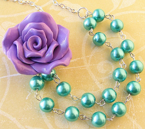 Bridesmaid Jewelry Teal Necklace Purple Jewelry Flower Necklace Beaded Necklace Aqua Statement Jewelry