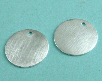 Sterling Silver Satin Blank LARGE Tags Stamps Discs, 13.5mm, 1.3mm hole 24g- 2 pcs