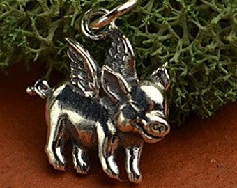 Sterling Silver Flying Pig Charm, 925 Sterling Silver, 16.3x12x3.2mm.
