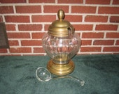 Vintage Large Store Counter Display Glass and Brass Apothecary Jar with Glass Ladle