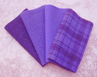 "Hand Dyed Wool Felt, ULTRAVIOLET, Four 7"" x 16"" pieces in Vivid Blue-Violet"