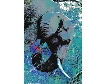 Blue Elephant Art, Jungle Artwork, Africa Safari, Wild Animal, Digital Print,Wildlife Wall Hanging, Home Decor, Giclee Print 5 x 7 OR 8 x 10