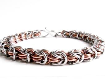 Copper & Stainless - Chainmaille Bracelet - Rosetta Pattern
