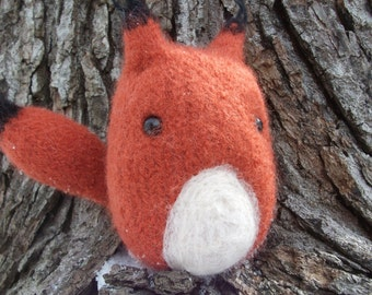 Fox plush toy, red fox toy, red fox doll, hand knit and felted fox stuffed animal, woodland nursery decor, made to order