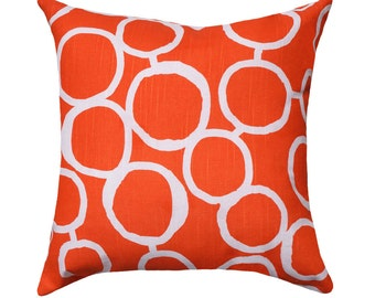 CLEARANCE Orange Modern Throw Pillow - Freehand Tangelo Orange Decorative Throw Pillow Free Shipping