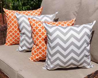 Mill Creek Hockley Mandarin Orange and Zig Zag Grey Outdoor Throw Pillow - Set of 4-- Free Shipping