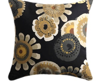 Mill Creek Crosby Ebony Charcoal, Tan, Khaki, Yellow Floral Decorative Outdoor Throw Pillow - Free Shipping