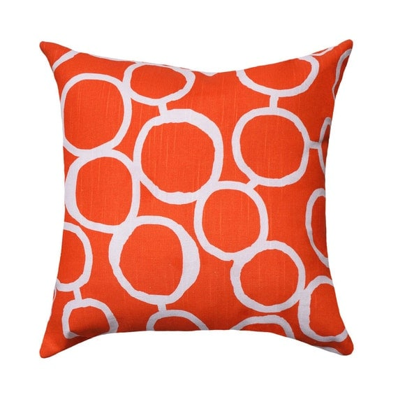 CLEARANCE Orange Modern Throw Pillow Freehand Tangelo Orange