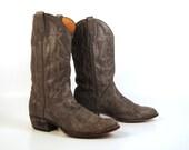 Men's Cowboy Boots Vintage 1980s El Dorado Handmade Gray Men's size 10