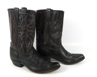 Black Cowboy Boots Vintage 1960s  Leather Men's size