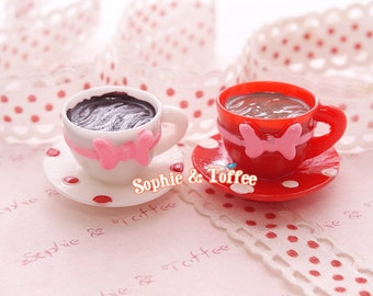 26mm Dotted Ribbon Teacup Set Miniature Sweets Deco Kawaii Decoden Miniature Sweets 2pcs