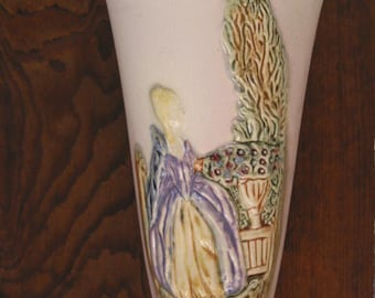 SALE - Elegant Lady Weller Art Pottery wall pocket Vase English Garden scene blonde woman & urn