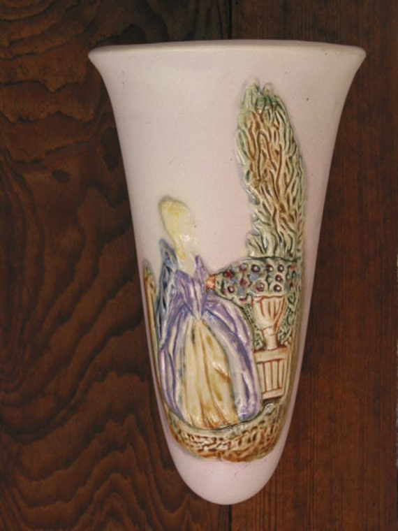 Sale Elegant Lady Weller Art Pottery Wall Pocket Vase