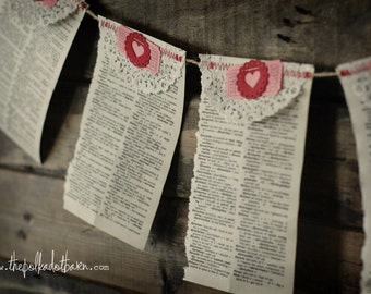 vintage dictionary paper heart garland