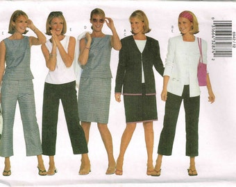 Misses Career Top Skirt Mod Pants Loose Fitting Jacket Butterick 6942 Sewing Pattern Size 12 14 16 Bust 34 36 38