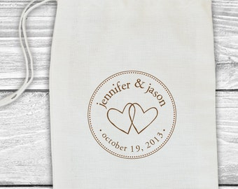 Custom wedding date or save the date stamp-two hearts--126TS