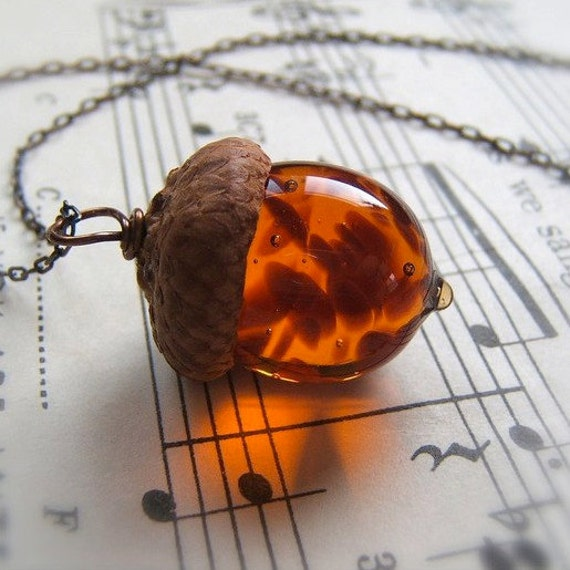 Glass Acorn Necklace in Topaz with Brown Flecks by Bullseyebeads